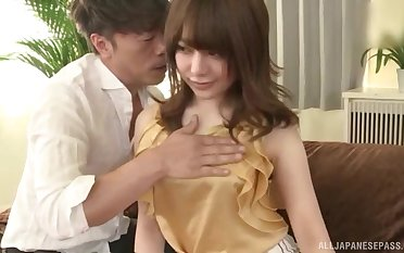 Petite Japanese teen Arimura Nozomi pounded hard unconnected with a big ebon cock