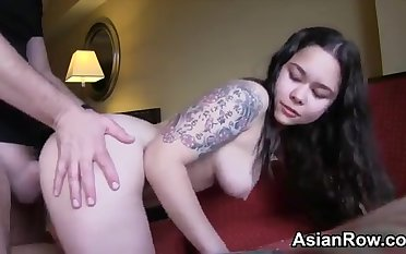 Young Girl, tattoed Asian loves smudged prick respecting POV PORN