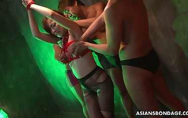 Japanese hooker Aiko Nagai is having crazy sex joke far several horny dudes