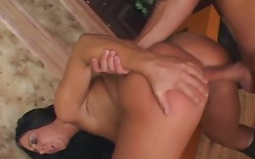 Kinky lubed whore with racy boobies is analfucked hard good enough by stud
