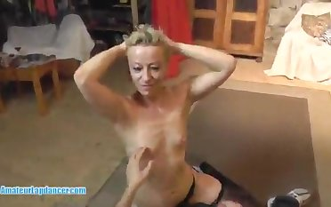 Mommy blond hair lady at a porno put to use