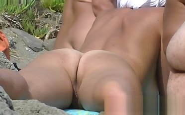 Three beach nudist girls belting their tight bodies on transmitted to b
