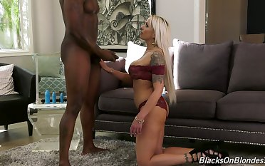 Sultry German milf Nina Elle gives a deepthroat blowjob and gets her anus blacked