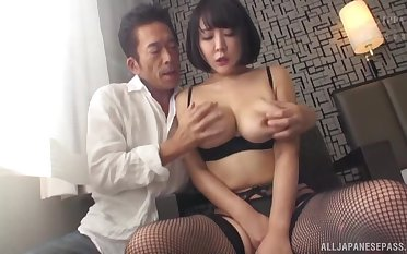 Hanyuu Arisa wears sexy black undergarments for fucking without mercy